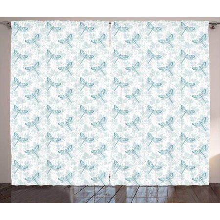 Turquoise Leaf Motif (Dragonfly Curtains 2 Panels Set, Spring Fauna and Flora Parsley Leaves Ethnic Motifs Filled Wings, Window Drapes for Living Room Bedroom, 108W X 108L Inches, Bluegrey Turquoise White, by Ambesonne)