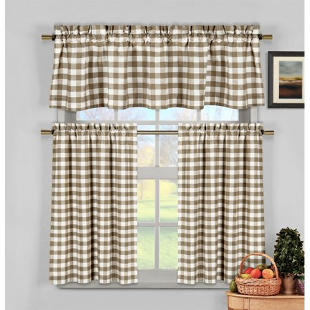 Taupe 3 Piece Gingham Check Kitchen Window Curtain Set: Plaid, Cotton Rich, 1 Valance, 2 Tier (Cotton Drapery Panel)