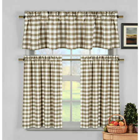 taupe 3 piece gingham check kitchen window curtain set plaid cotton rich 1 valance 2 tier. Black Bedroom Furniture Sets. Home Design Ideas