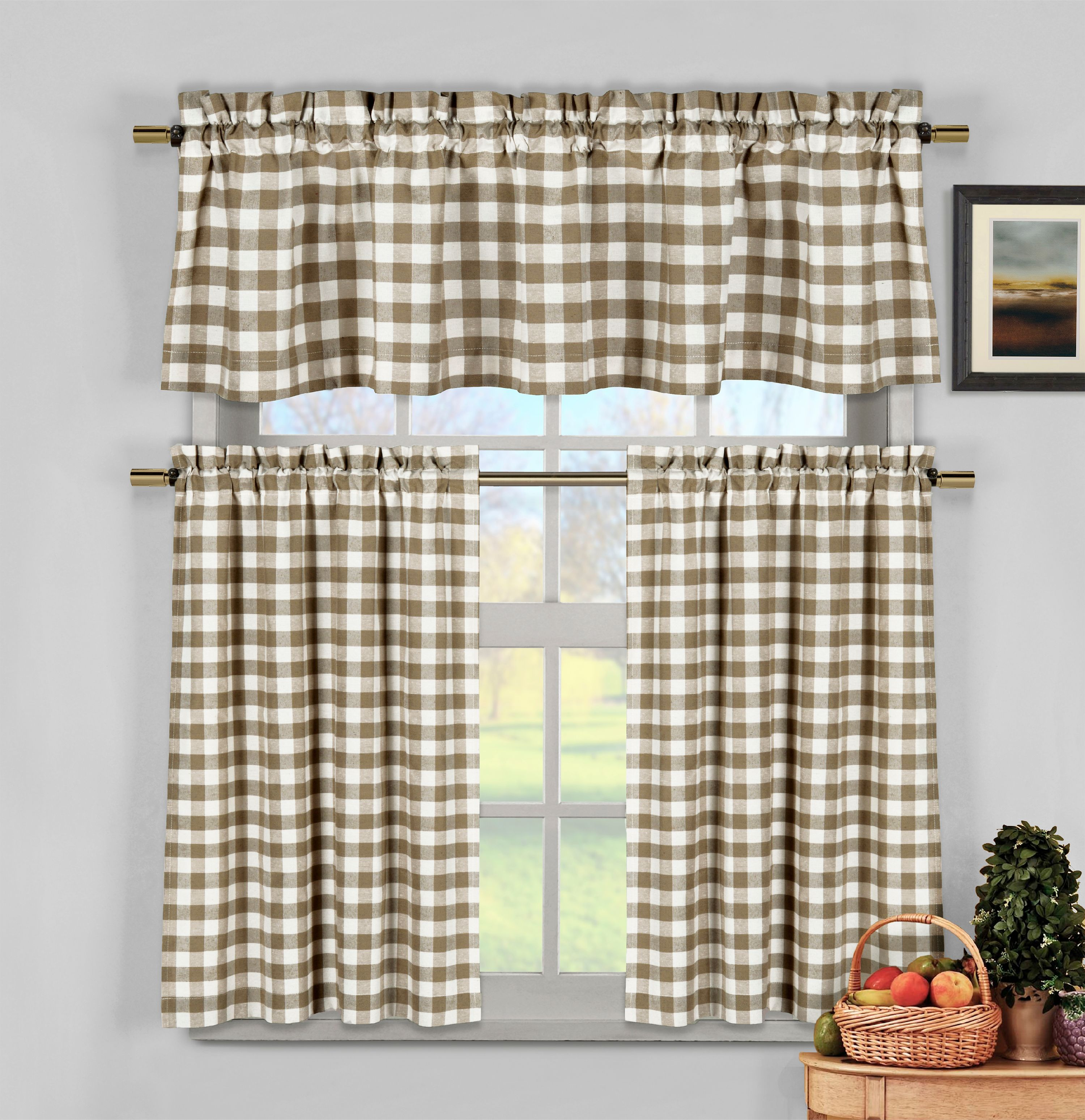 Taupe 3 Piece Gingham Check Kitchen Window Curtain Set: Plaid, Cotton Rich, 1 Valance, 2 Tier Panels
