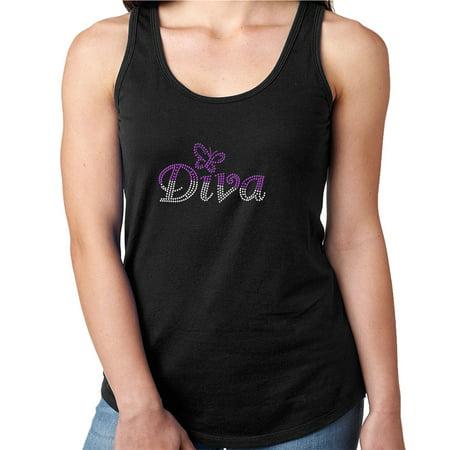 Womens T-Shirt Rhinestone Bling Black Tee Butterfly Purple Sparkle Diva Tank Racer Back Small