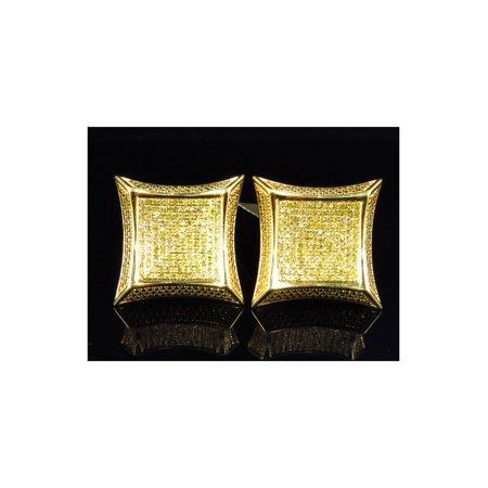 Mens Las Square Kite Yellow Canary Diamond Stud Earrings 20mm 1 20ct