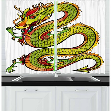 Dragon Curtains 2 Panels Set, Japanese Old Fashion Ancient Folk Myth Creature in Vibrant Toned Design, Window Drapes for Living Room Bedroom, 55W X 39L Inches, Lime Green Marigold Red, by Ambesonne ()