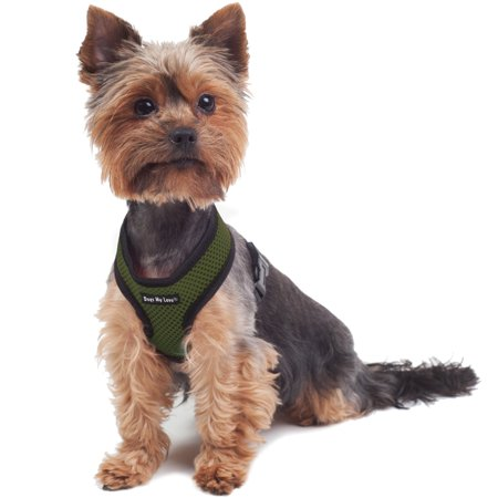 Dogs My Love Soft Mesh Walking Harness for Dogs and Puppies 6 Sizes Khaki (XS (Neck Max: 9
