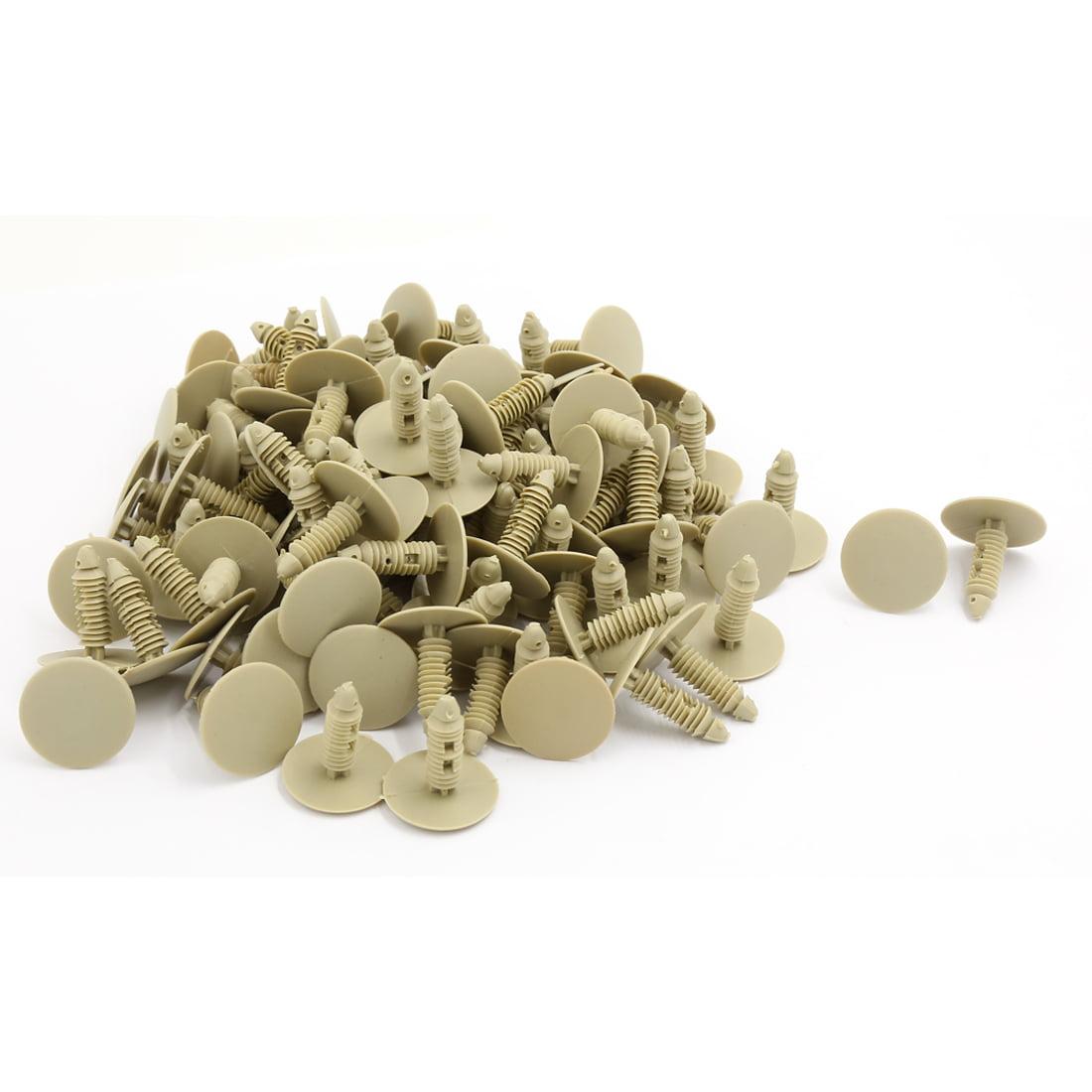 25mm Head 7.5mm Hole Khaki Plastic Splash Guard Moulding Rivet Clips 100 PCS - image 1 de 1