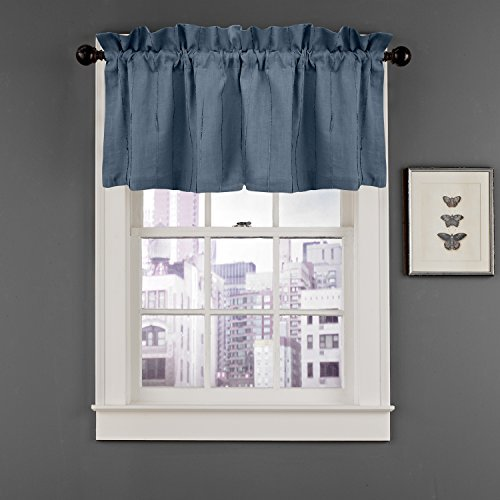 Veratex Madison 100% Linen Tailored Window Valance Made in the USA, Indigo