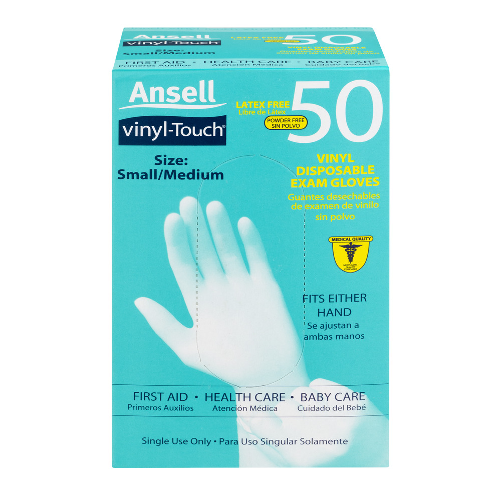 Ansell Vinyl-Touch Latex Free Disposable Gloves Small/Medium - 50 CT