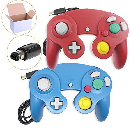 Lot Of 2 Wired Controller For Wii GameCube Wii U In Red And Blue