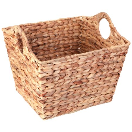 Water Hyacinth Large Square Wicker Shelf Basket