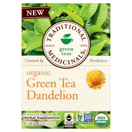 TRADITIONAL MEDICINALS Thé vert bio pissenlit 16 sachets de thé Emballé, 1,13 oz, 6 pack