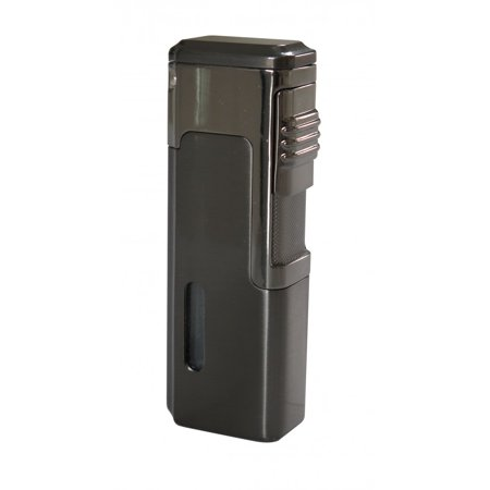 Torch Lighter Punch - Tsunami Quad Torch Red Flame Lighter w/ Retractable Punch - Gun Metal