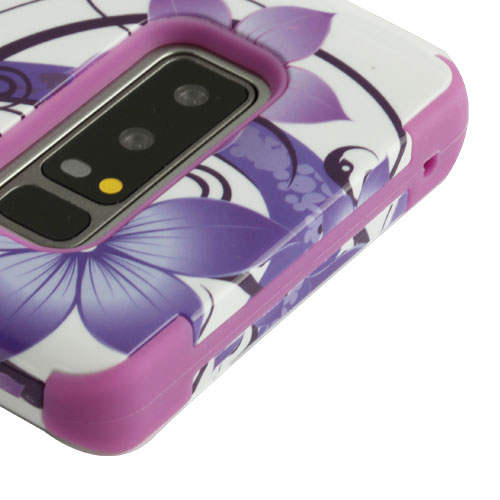 Kaleidio Case For Samsung Galaxy Note 8 [TUFF Armor] Impact Protective Hybrid [Shockproof] 3-Piece Dual Layer Rubber Cover w/ Overbrawn Prying Tool [Purple Hibiscus Flowers]