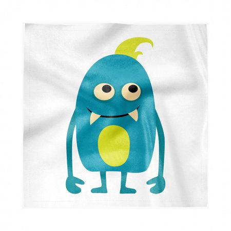 Halloween Themed Dinner Party Food (Alien Napkins Set of 4, Monster Halloween Themed Cartoon Childish Character, Silky Satin Fabric for Brunch Dinner Buffet Party, by)
