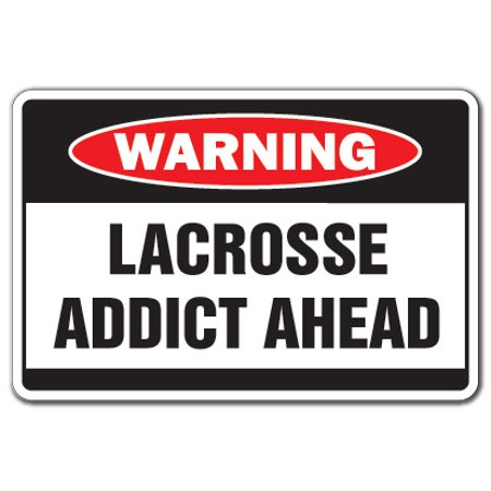Lacrosse Addict [3 Pack] of Vinyl Decal Stickers | Indoor/Outdoor | Funny decoration for Laptop, Car, Garage , Bedroom, Offices | SignMission (Lacrosse Decorations)