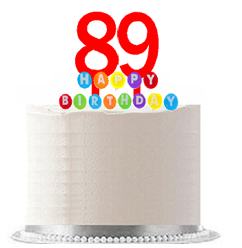 Item#089WCD - Happy 89th Birthday Party Red Cake Topper & Rainbow Candle Stand Elegant Cake Decoration Topper Kit