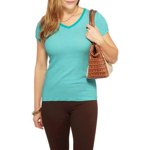 Faded Glory Women's V- Neck Essential Rib T-Shirt