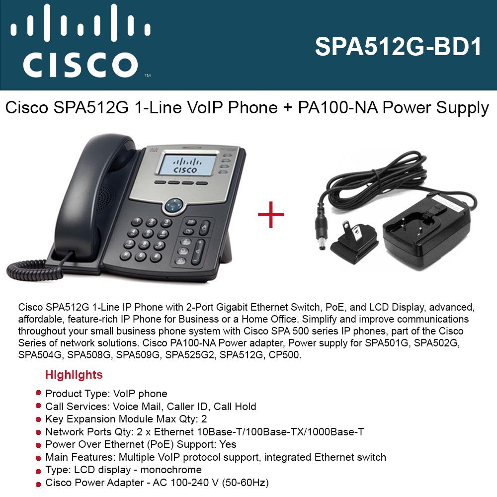 Cisco SPA512G IP Phone 1-Line with PoE port + Power Supply PA100-NA ...