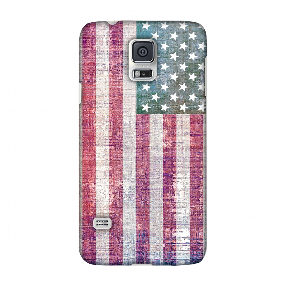 Samsung GALAXY S5 SM-G900 Case - USA flag- Wood texture, Hard Plastic Back Cover, Slim Profile Cute Printed Designer Snap on Case with Screen Cleaning Kit