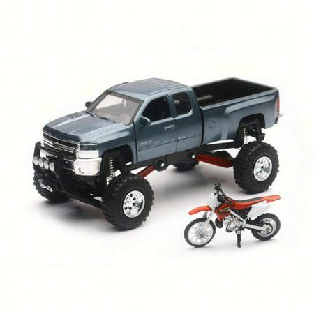 New-Ray SS-54426  SS-54426; Replica 1:43 Truck / Race Bike Chevy Grey / Fits Honda Bike Red