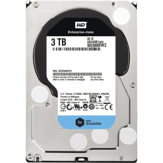 Western Digital - WD3000F9YZ - 3tb 7200rpm, Sata 6gb/s, 64mb Cache, 5 Year Warranty, 750, 000 Power On Hours Mtb