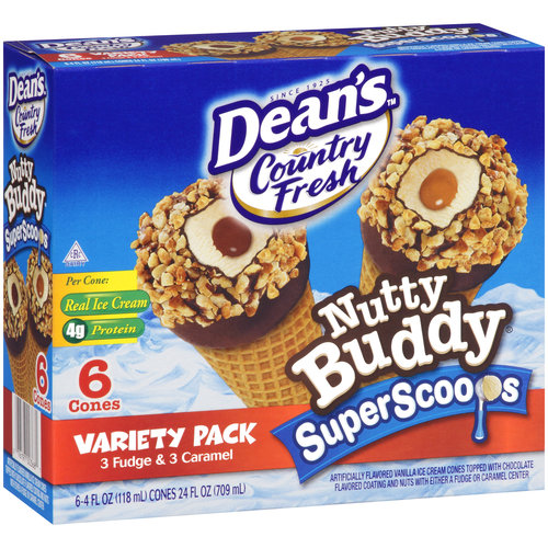 Dean's Country Fresh Nutty Buddy Super Scoops Ice Cream Cones Variety Pack, 6 - 4 oz cones
