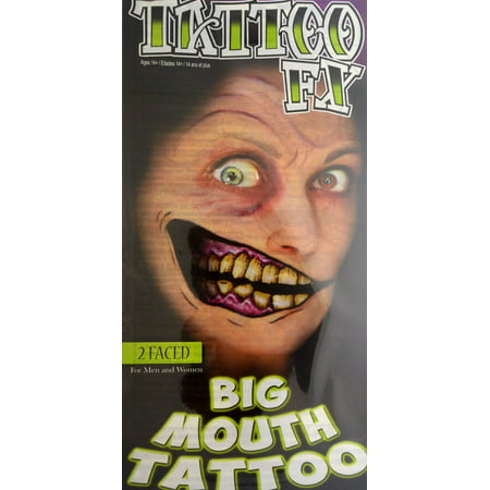 Tinsley Transfers Two Faced Big Mouth Face Halloween Costume Makeup Tattoo - Face Paint Halloween Cute