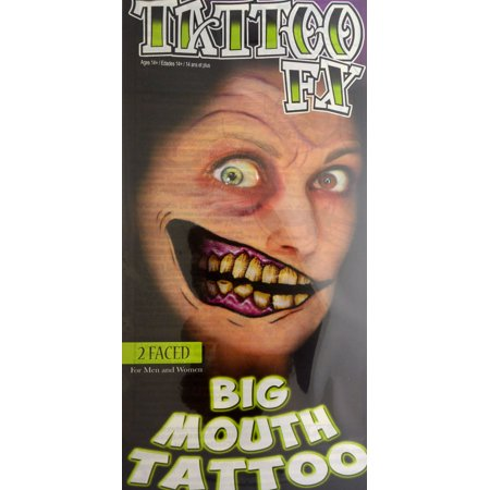 Tinsley Transfers Two Faced Big Mouth Face Halloween Costume Makeup Tattoo FX (Two Faced Makeup Halloween)