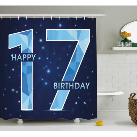 17th Birthday Decorations Shower Curtain Space Stage Theme Image With Star Like Dots Seventeen