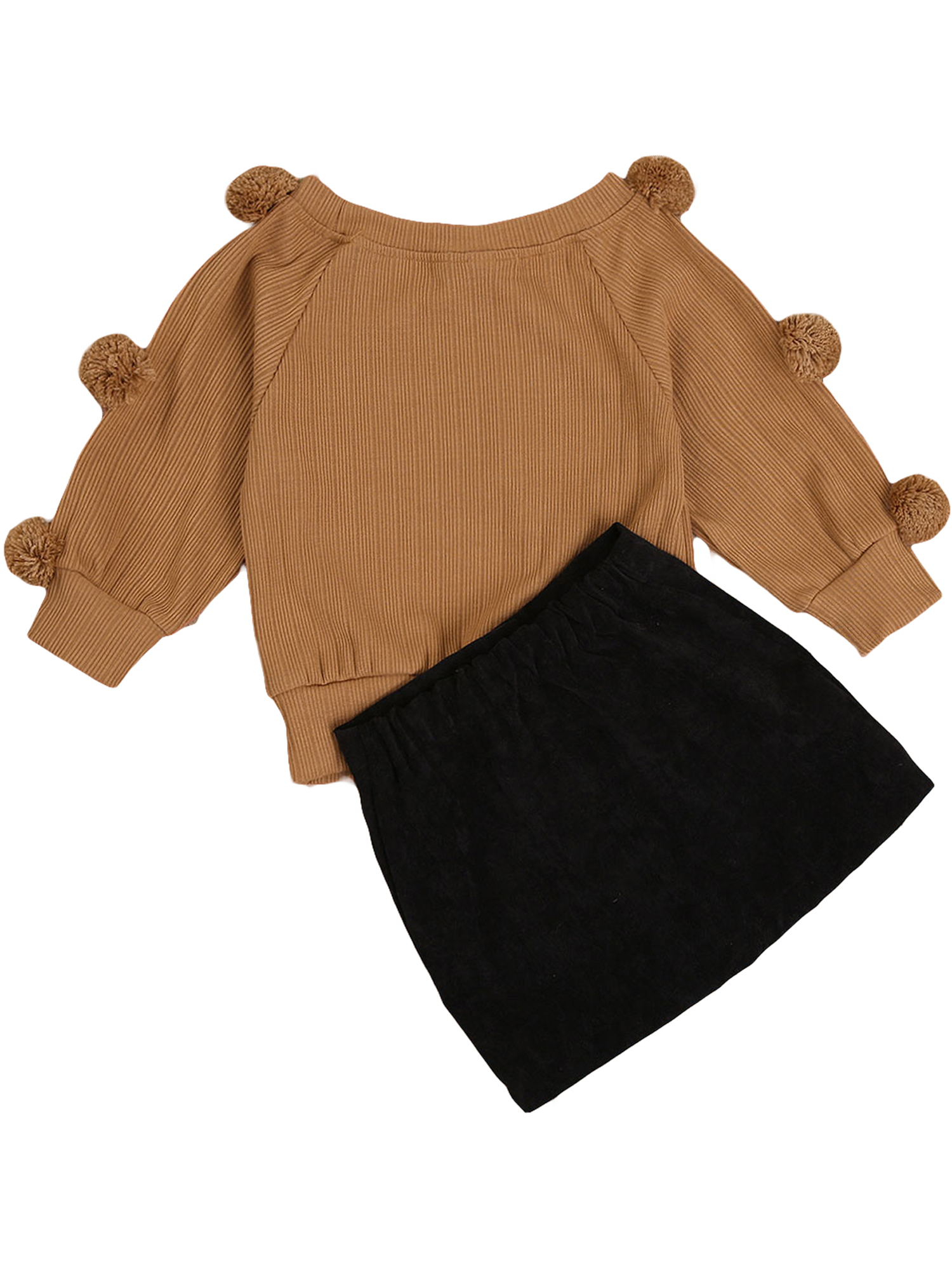 2Pcs Toddler Baby Girl Fall Winter Clothes Pompom Knit Sweater Long Sleeve T-Shirt Tops Button Mini Skirt Outfits