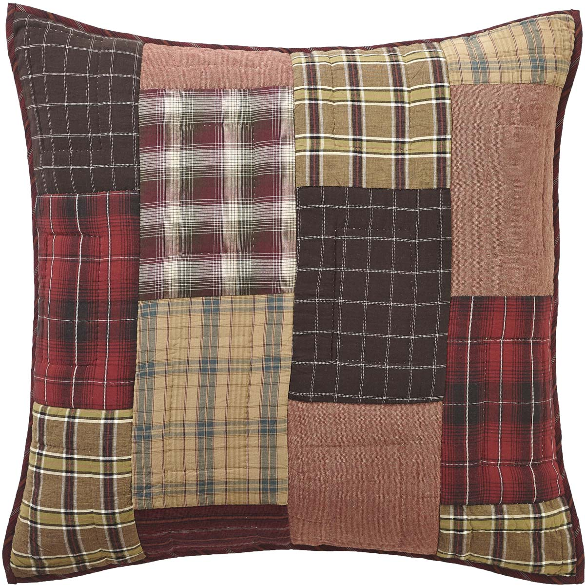 Crimson Red Rustic & Lodge Bedding Wyatt Cotton Hand Quilted Patchwork Euro Sham