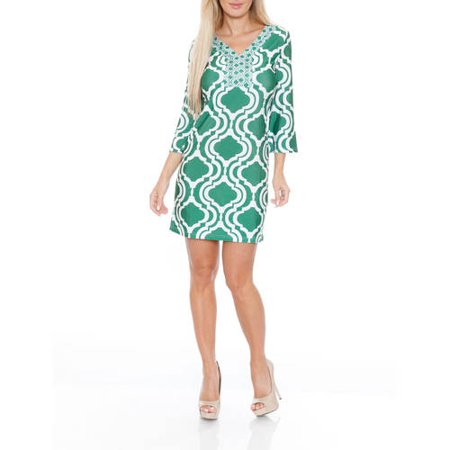 White Mark Women's Trellis Printed Mini Dress