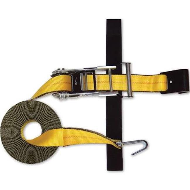 """FLAT-HOOK STRAP 2""""x27' EXPANDABLE RATCHET with Hook & Loop storage fastener"""