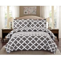 Comforter with 1 Pillow Sham Goose Down Alternative Ultra Soft Microfiber Grey Color Twin Size