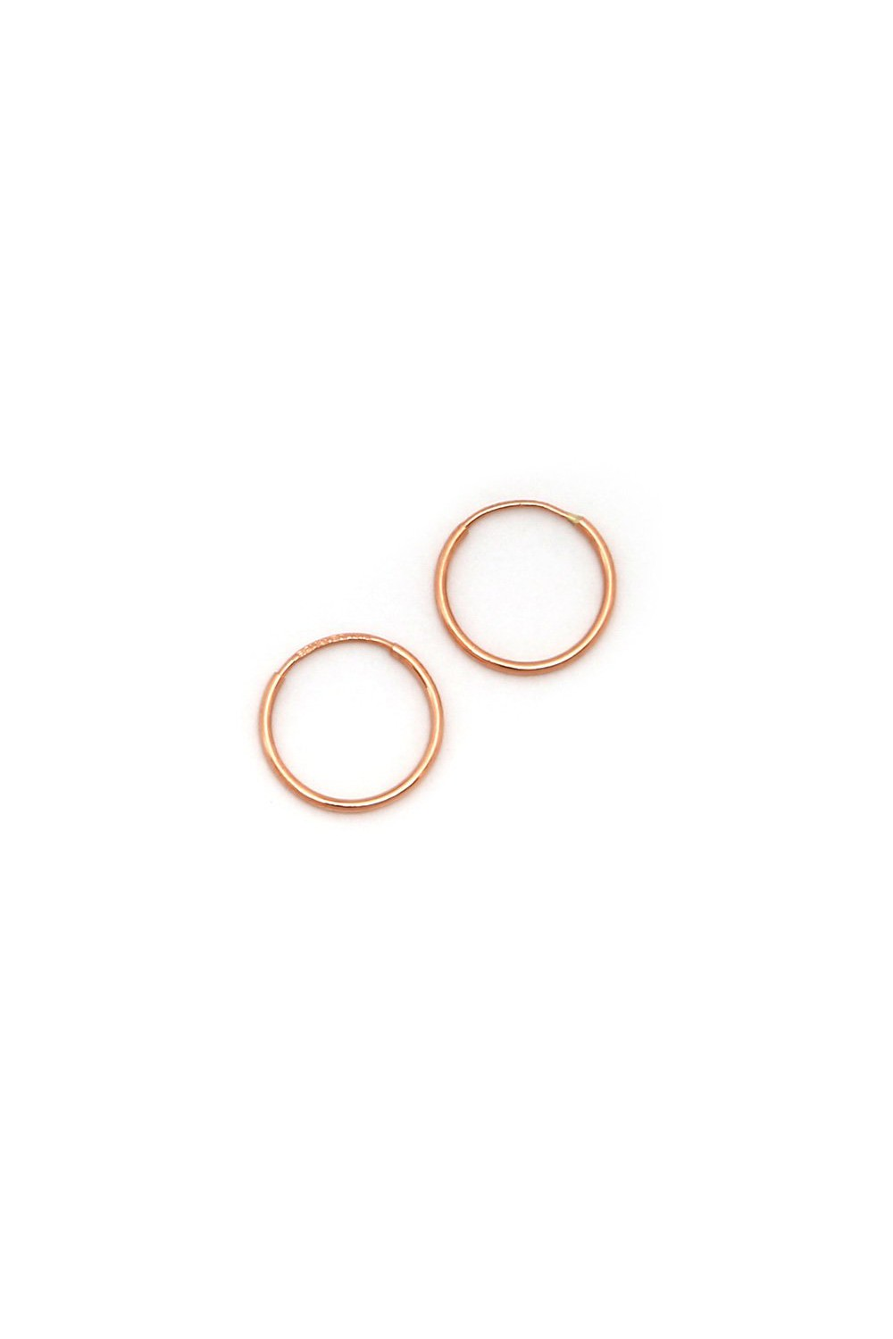 3ad7983710633 14k Yellow, White or Rose Gold 1mm Thin Small Endless Hoop Earrings, 10mm