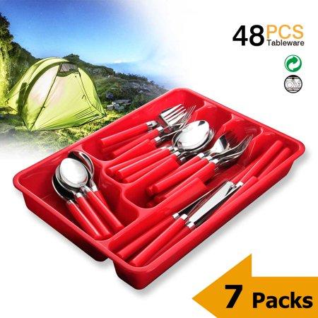 - Silverware Set Moxinox 7-Packs 48 Piece Flatware Tableware Plastic Handle Steak Knife Spoons Forks Knives Box Fork with Cutlery Tray (Red)