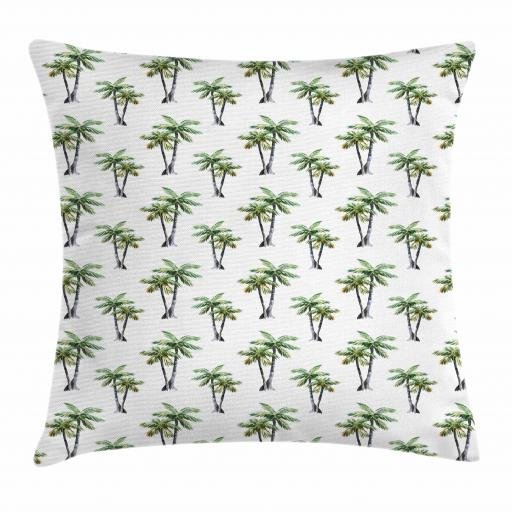 Palm Tree Throw Pillow Cushion Cover, Botanical Watercolor Artwork of Hawaiian Aloha Forest Palm Trees in Pairs, Decorative Square Accent Pillow Case, 16 X 16 Inches, Grey Green White, by Ambesonne