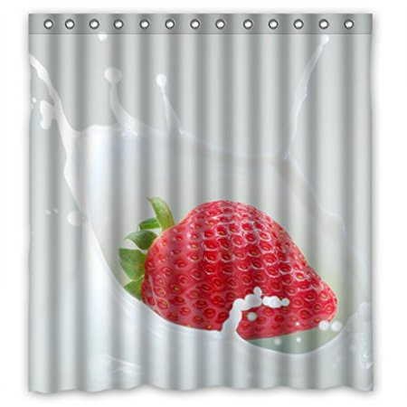 EREHome Strawberries Milk Shower Curtain Polyester Fabric Bathroom Decorative Curtain Size 66x72 Inches - image 1 de 1