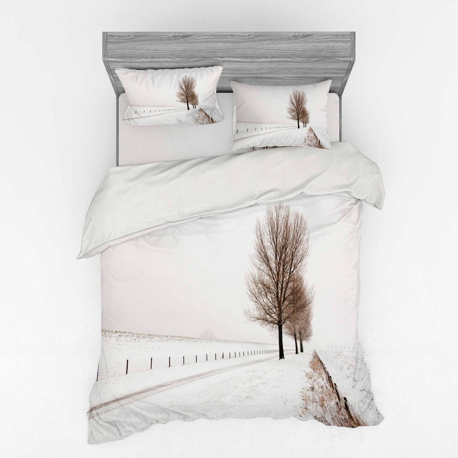 Rustic Duvet Cover Set Row Of Large And Bare Beech Trees In Snow Covered Winter Frozen Photography Art Bedding Set With Shams And Fitted Sheet 3 Sizes By Ambesonne Walmart Com