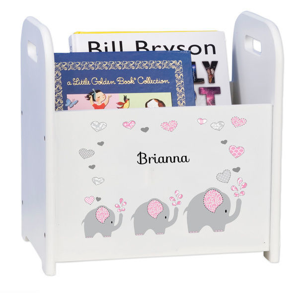 Personalized Pink Elephant Caddy and Book Rack