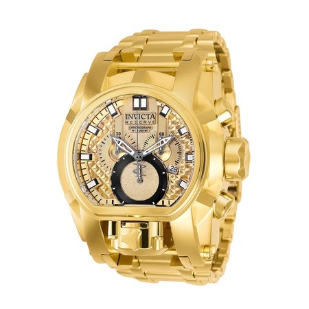 Reserve Bolt Zeus Stainless Steel Gold Band Metal Gold Dial Quartz Mens Watch 25210 ()
