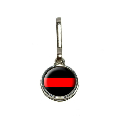 Thin Red Line Firefighters Charm Zipper Pull