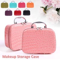 Mini Travel Makeup Train Case With Mirror For Woman - Crocodile Pattern Pink