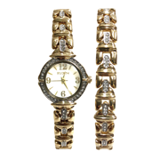 Elgin Ladies Round Case Pave Analog watch