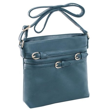 Blue Flower Purse (Multi Belt Adorned Vertical Crossbody in Dark Green )