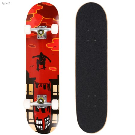 30.6 Long-board Complete Deck Skateboard for Boys and Girls, PRO Print Wood Skateboard HFON ()