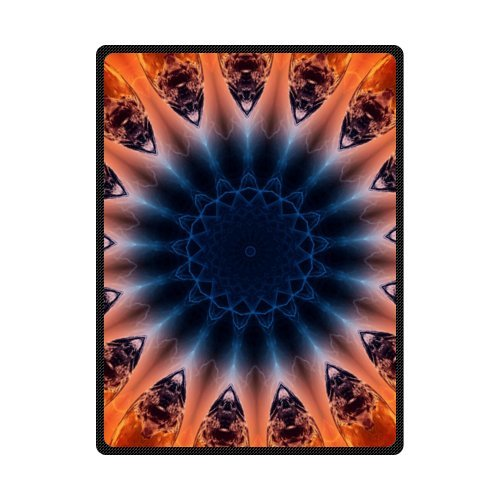 CADecor Mandala Orange Blue Flower Fleece Blanket Throws 58x80 inches