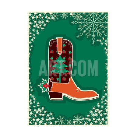 Cowboy Christmas Card with Boot Decoration Print Wall Art By GeraKTV - Booth Decoration