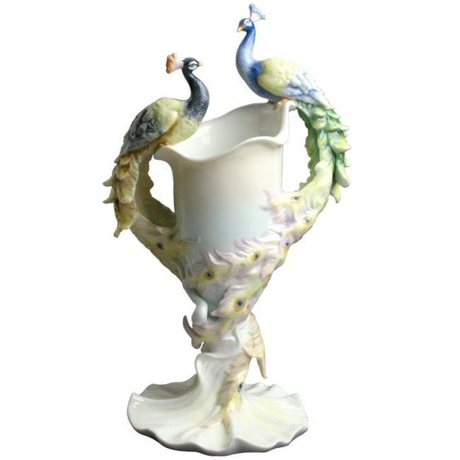 Unicorn Studios AP20039AA Double Peacock Porcelain Vase