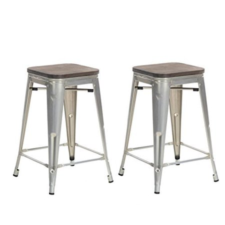 Surprising Buschman Set Of Two Galvanized Wooden Seat 24 Inches Counter High Tolix Style Metal Bar Stools Indoor Outdoor Stackable Pabps2019 Chair Design Images Pabps2019Com