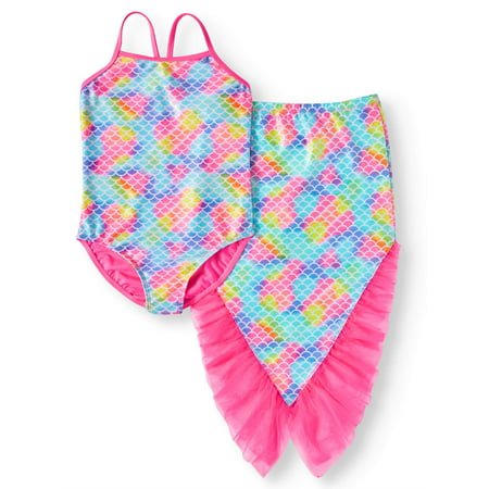 Mermaid One-Piece Swimsuit and Skirt Coverup, 2-Piece Set (Little Girls, Big Girls & Big Girls Plus) (Swimsuits For Girls)